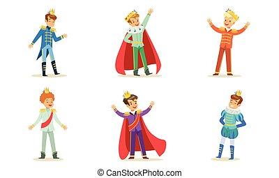 服裝, 國王, 矢量, 男孩, illustration., princes.