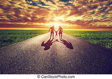 朝向, 家庭, 路, 太陽, 直接, 長, 步行, 傍晚, 方式