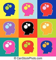 朝向 集合, 鮮艷, 圖象, 認為, 徵候。, 風格, 3, colors., vector., pop-art