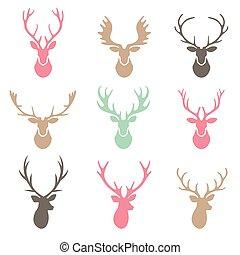 朝向 集合, 黑色半面畫像, 鹿, 背景。, 白色
