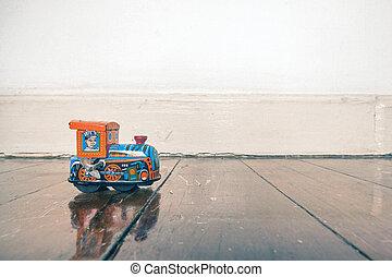 木制的火車, 玩具, 地板