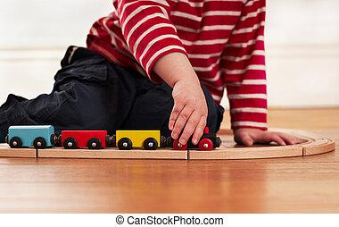 木制的火車, 玩具, 玩, 孩子