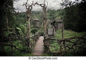 木制, 中世紀, fortification.