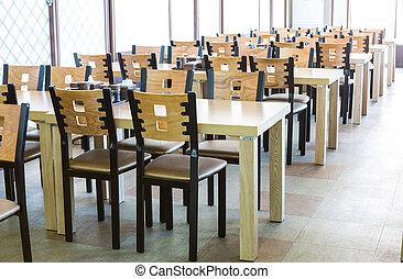木制, 內部, 椅子, 桌子, 餐館