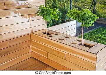 木制, 區域, 戶外, 院子, plants.