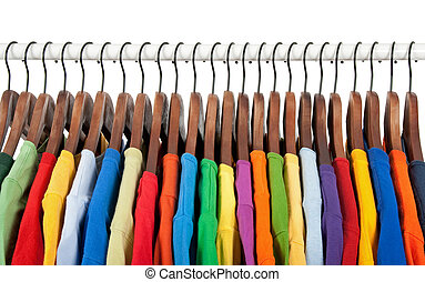 木制, 吊架, 多种顏色, 衣服