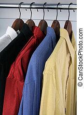 木制, 吊架, 襯衫, 鮮艷