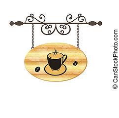 木制, 咖啡, 簽署, 鍛造, 杯子