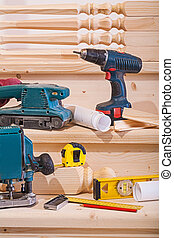 木制, 工具, 梯子, 步驟, 工作