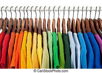 木制, 彩虹, 衣架, 顏色