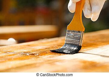 木制, 木頭, 保護, 畫, 畫家, 表面