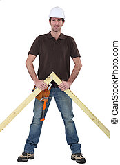 木制, 构架, 站, 木匠
