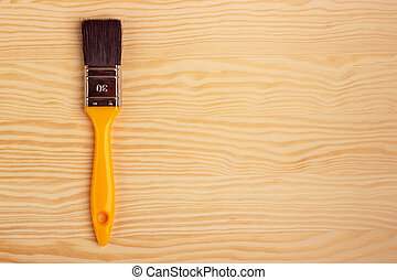 木制, 畫, 背景, 刷子, 黃色