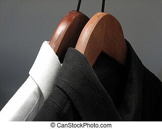 木制, 白色, 吊架, 黑色, 襯衫
