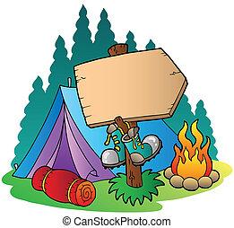 木制, 簽署, 宿營的帳蓬