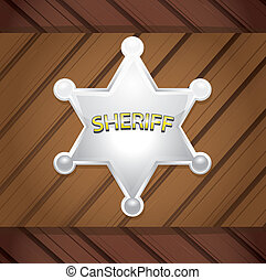木制, 背景。, 矢量, 徽章, sheriff's