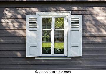 木制, 葡萄酒, 灰色, 牆, 窗口, 小, 白色, 安眠藥