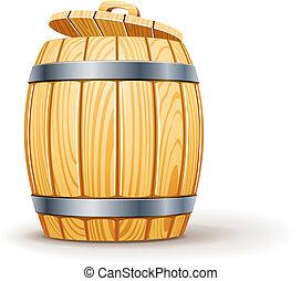 木制, 蓋子, 桶