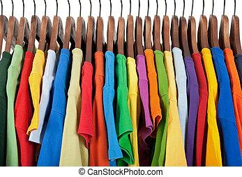 木制, 衣服, 多种顏色, 吊架, 品種