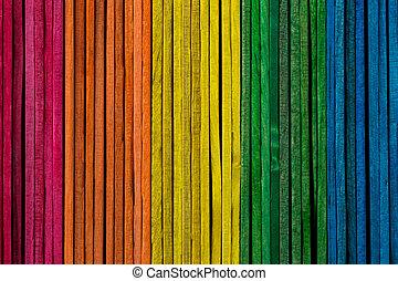 木制, 被給上色, 堆積, 棍, 邊