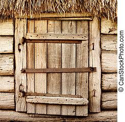 木制, 鄉村, 老, 門