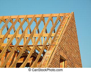 木制, 顯示, 建設, 屋頂結构