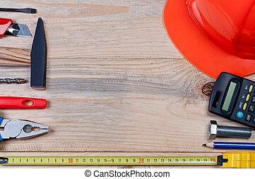 木制, board., 建築集合, 工具