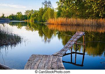 木制, pier., 老, 釣魚
