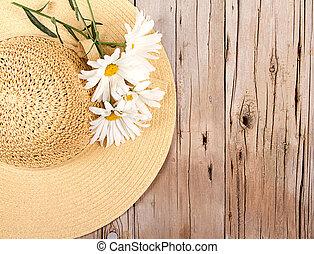 木制, sun 帽子, 板條