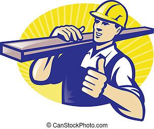 木匠, 向上, 拇指, 木材堆置場, 工人