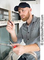 木匠, 愉快, 男性年輕, 建築工地