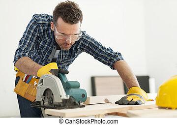 木匠, 木頭, 集中, 板, 鋸