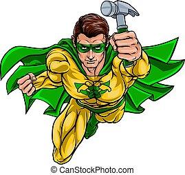 木匠, 超級, 做零活的人, superhero, 藏品, 錘子