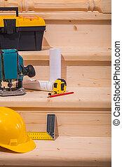 木製的階梯, 工具, setps, 工作