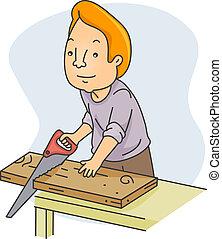 木頭, 人, 鋸