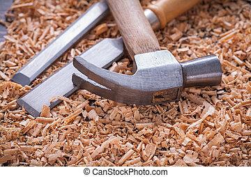 木頭, 木制, 葡萄酒, 鑿子, 刨, 板, 爪子榔頭