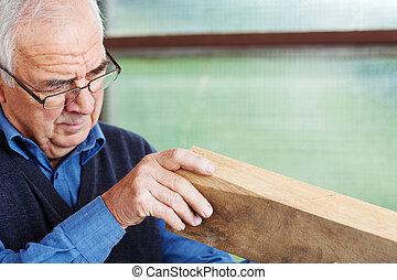 木頭, 車間, 分析, 木匠, 男性