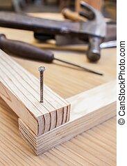 木頭, 釘子, 建設, 背景, 桌子, 錘子