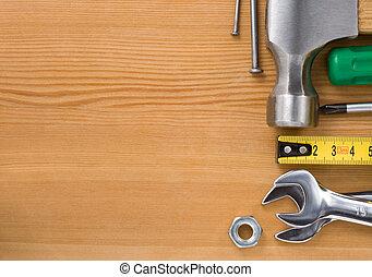 木頭, 集合, 工具, 背景