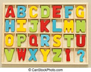 木頭, box., 鮮艷, 木制, 字母表, 集合, 英語