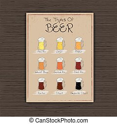 杯子, 矢量, 紙, beer., 表, 插圖, 葡萄酒, 安置, 手, 畫, 不同, 他們, 類型