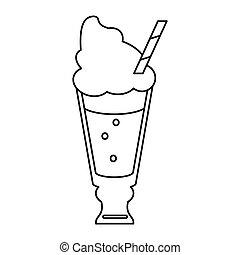 杯子, 秸桿, 飲料, 玻璃, 稀薄, 光滑, 新鮮, 線, 奶油