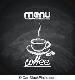杯子, 菜單, 設計, 咖啡, 葡萄酒, 黑板
