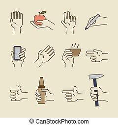 杯子, 葡萄酒, 圖象, 手, 線, 瓶子