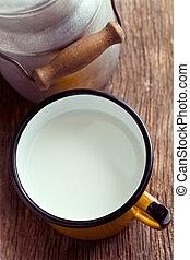 杯子, 錫, 牛奶