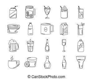 杯子, 集合, 風格, 飲料, 圖象, 玻璃, 喝, 線, 酒, 圖象, 酒鬼, 瓶子