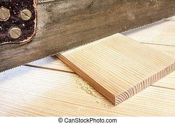 松樹, 手, 板條, 看見, 木匠, 木頭, 切