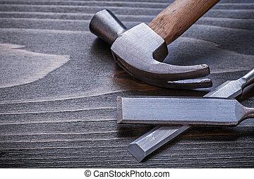 板, 鑿子, 建設, 木頭, 錘子, 爪, 套間, 葡萄酒