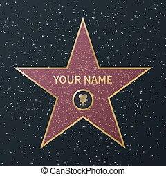 林蔭大道, 街道, 成功, 電影, 名人, star., 步行, 著名, 矢量, 褒獎, 星, 奧斯卡, 名聲, 花崗岩, 好萊塢, 男演員, 圖像, 電影