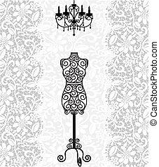 枝形吊燈, 帶子, 背景, 時裝模特